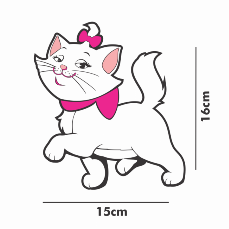 gatinha marie desfilando-adesivo15x16-de paredes-carro-menina-mundo rosa-pura arte adesivos