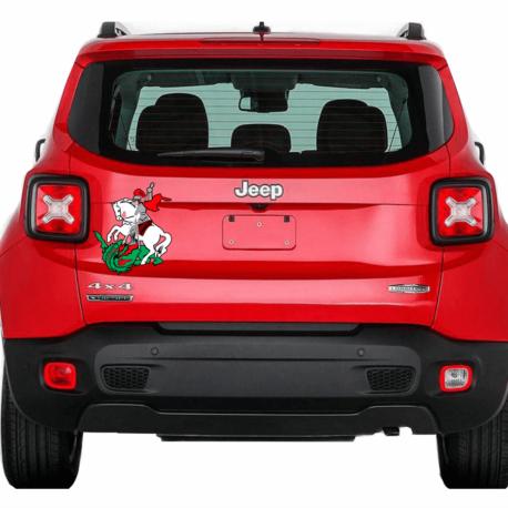 são jorge colorido-adesivo decorativo-carro jeep-paredes-hilux-caminhão-religioso-guerreiro-mercado livre-pura arte adesivos
