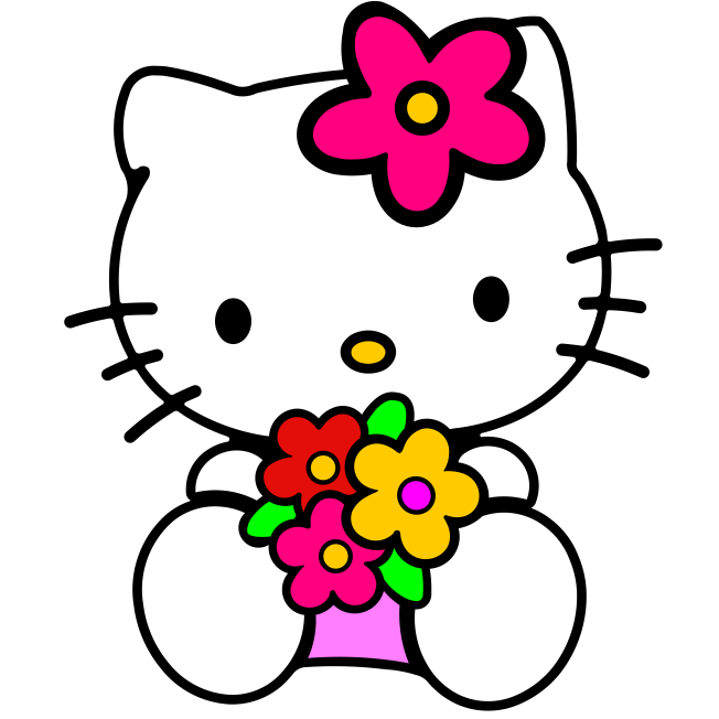 Hello kitty flores - Pura Arte Adesivos