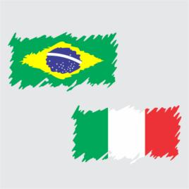 Bandeira do Brasil e Itália Estilizada