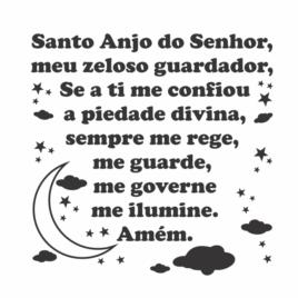 Adesivo – Oração Santo Anjo do Senhor – Preto