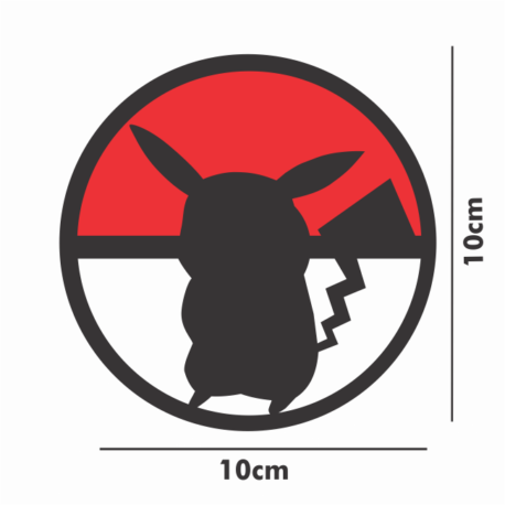 adesivo pokebola e pikachu-10×10-sticker recorte eletrônico-geek-nerd-gamer-pura arte adesivos