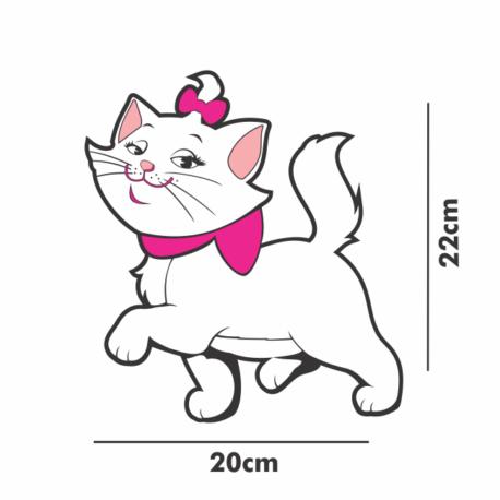 gatinha marie desfilando-adesivo 20×22-de paredes-carro-menina-mundo rosa-pura arte adesivos