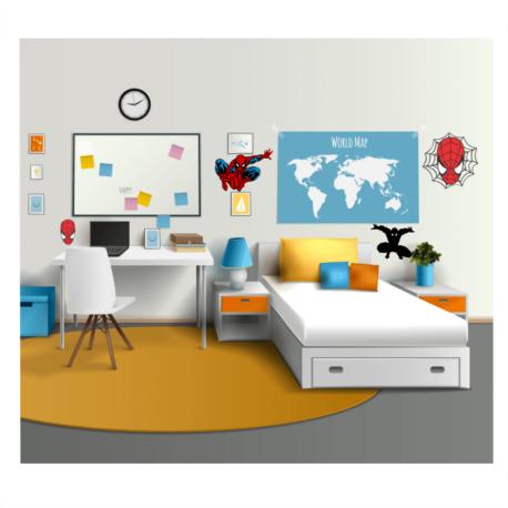 adesivo homem aranha kit 4un-decoração de quarto-kid-spiderman-geek-nerd-gamer-marvel-pura arte adesivos