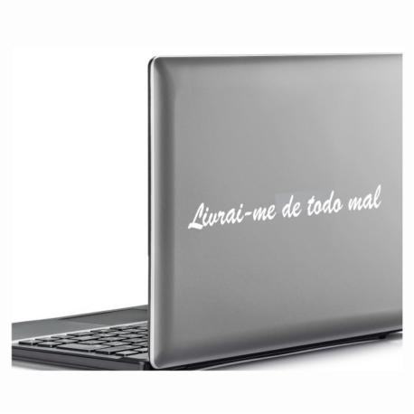 adesivo livrai me de todo mal-para notebook-macbook-religioso-maria-oração-pura arte adesivos