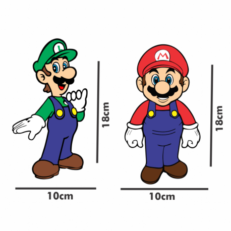 adesivo super mario e luigi-10×18-sticker decorativos-geek-nerd-gamer-jogos on line-pura arte adesivos