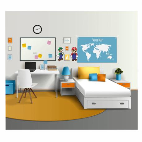adesivo super mario e luigi-de paredes-decoração kids-geek-nerd-gamer-jogos on line-pura arte adesivos