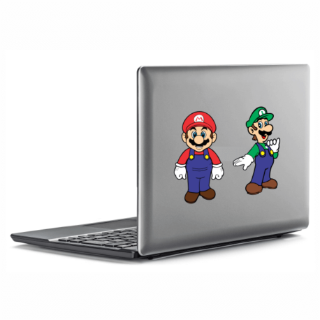 adesivo super mario e luigi-para notebbok-macbook-geek-nerd-gamer-jogos on line-pura arte adesivos