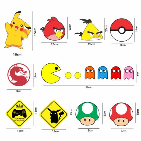 adesivos gamer-kit 22un-02-sticker geek-nerd-on line-jogos-sonic-pikachu-pac man-pura arte adesivos