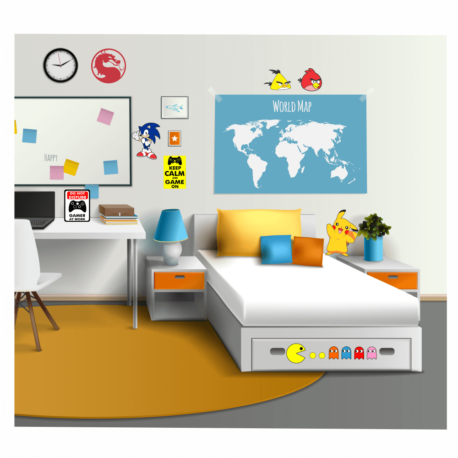 adesivos gamer-kit 22un-sticker geek-nerd-on line-jogos-de paredes-quarto-pura arte adesivos