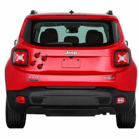 adesivo joaninha vermelha enfeite-para carro-hilux-jeep-toyota-inseto-decoração-pura arte adesivos