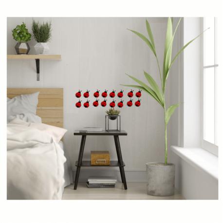 adesivo joaninha vermelha-kit 16un-quarto decorado-casa-verde-natureza-inseto-enfeite-pura arte adesivos