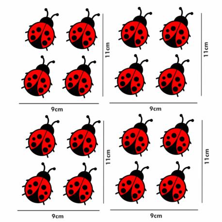 adesivo joaninha vermelha-personalizado-kit 16un-sticker decorativo-natureza-inseto-pura arte adesivos