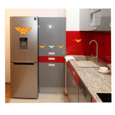 adesivo mulher maravilha-kit-de geladeira-decoração de cozinha-dc-meninas-geek-nerd-pura arte adesivos